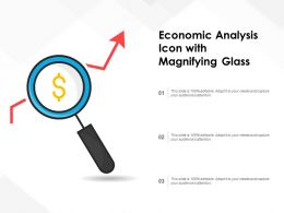 Economic Analysis Icon With Magnifying Glass