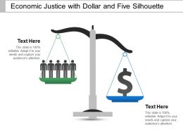 Economic Justice With Dollar And Five Silhouette