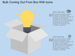Ed Bulb Coming Out From Box With Icons Flat Powerpoint Design