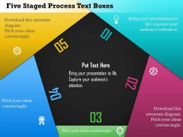 Ed Five Staged Process Text Boxes Powerpoint Template