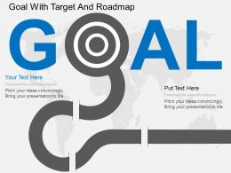 ed Goal With Target And Roadmap Flat Powerpoint Design