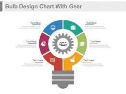 ed Six Staged Bulb Design Chart With Gear Flat Powerpoint Design