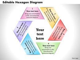 Editable Hexagon Diagram Powerpoint Presentation Slide Template