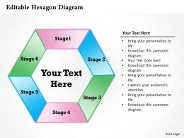 Editable Hexagon Diagram Powerpoint Template Slide