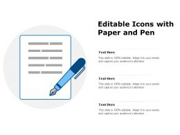 Editable Icons With Paper And Pen