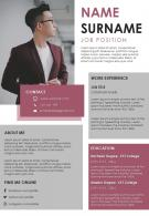 Editable Resume Professional Design Template For Job Search