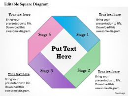Editable Square Diagram Powerpoint Template Slide