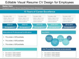 Editable Visual Resume Cv Design For Employees