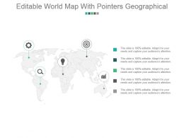 Editable World Map With Pointers Geographical Powerpoint Ideas