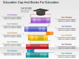 Education Cap And Books For Education Flat Powerpoint Design