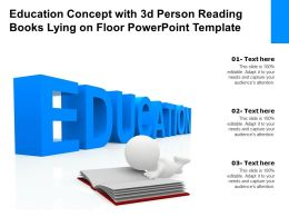 Education Concept With 3d Person Reading Books Lying On Floor Powerpoint Template