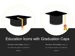 Education Icons With Graduation Caps