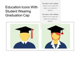Education Icons With Student Wearing Graduation Cap