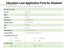 Education Loan Application Form For Students