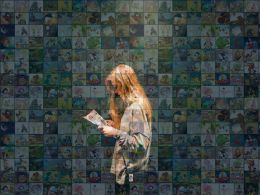 Education Slide Photo Mosaic Reading Books Ppt Background