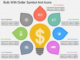 Ee Bulb With Dollar Symbol And Icons Flat Powerpoint Design