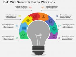 Ef Bulb With Semicircle Puzzle With Icons Flat Powerpoint Design