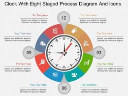 ef Clock With Eight Staged Process Diagram And Icons Flat Powerpoint Design