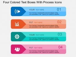 Ef Four Colored Text Boxes With Process Icons Flat Powerpoint Design