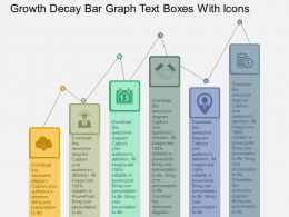 ef Growth Decay Bar Graph Text Boxes With Icons Flat Powerpoint Design