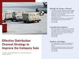 Effective Distribution Channel Strategy To Improve The Company Sale