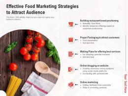 Effective Food Marketing Strategies To Attract Audience
