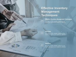Effective Inventory Management Techniques Ppt Powerpoint Presentation Infographics Cpb