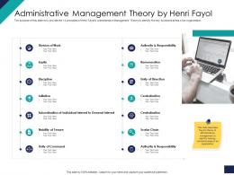 Effective Leadership Management Styles Approaches Administrative Management Theory By Henri Fayol Ppt Vector