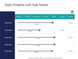Effective Leadership Management Styles Approaches Daily Timeline With Task Name Ppt Slides