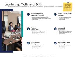 Effective Leadership Management Styles Approaches Leadership Traits And Skills Ppt Introduction