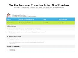 Effective Personnel Corrective Action Plan Worksheet
