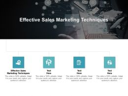 Effective Sales Marketing Techniques Ppt Powerpoint Presentation File Samples Cpb