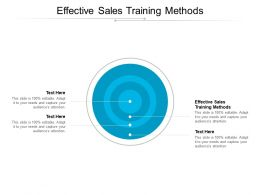 Effective Sales Training Methods Ppt Powerpoint Presentation Styles Outline Cpb