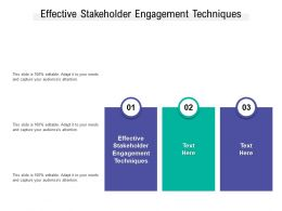Effective Stakeholder Engagement Techniques Ppt Powerpoint Presentation File Designs Cpb