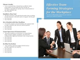 Effective Team Forming Strategies For The Workplace