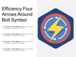Efficiency Four Arrows Around Bolt Symbol