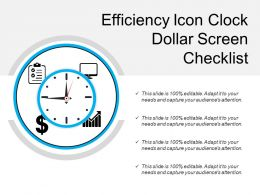 Efficiency Icon Clock Dollar Screen Checklist