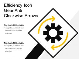 Efficiency Icon Gear Anti Clockwise Arrows