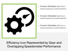 Efficiency Icon Represented By Gear And Overlapping Speedometer Performance
