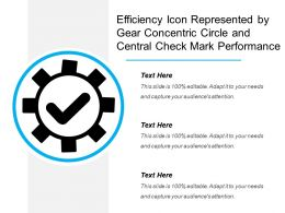 Efficiency Icon Represented By Gear Concentric Circle And Central Check Mark Performance