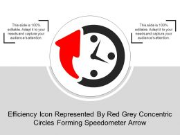 Efficiency Icon Represented By Red Grey Concentric Circles Forming Speedometer Arrow