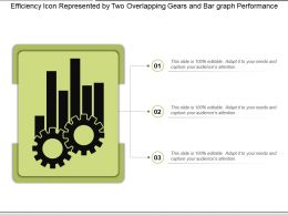 Efficiency Icon Represented By Two Overlapping Gears And Bar Graph Performance