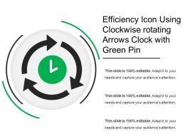 Efficiency Icon Using Clockwise Rotating Arrows Clock With Green Pin