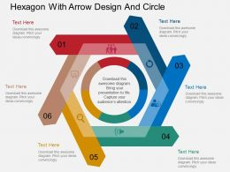 eg Hexagon With Arrow Design And Circle Flat Powerpoint Design