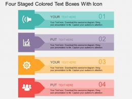 Eh Four Staged Colored Text Boxes With Icons Flat Powerpoint Design