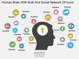 eh Human Brain With Bulb And Social Network Of Icons Flat Powerpoint Design
