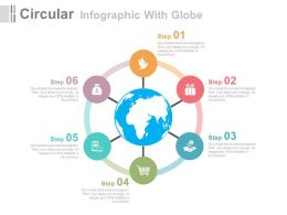 eh Six Staged Circular Infographic With Globe Flat Powerpoint Design