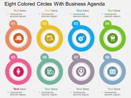 ei Eight Colored Circles With Business Agenda Flat Powerpoint Design