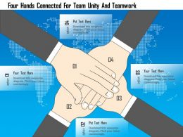 Ei Four Hands Connected For Team Unity And Teamwork Powerpoint Template