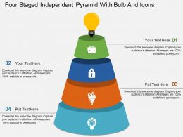 Ei Four Staged Independent Pyramid With Bulb And Icons Flat Powerpoint Design